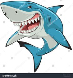 Illustration about Vector illustration: toothy white shark. Illustration of aquatic, danger, icon - 39603472 Cartoon Kunst, Cartoon Art, Shark Images, Shark Drawing, Shark Art, Big Shark, Shark Swimming, Shark Logo, Stencil