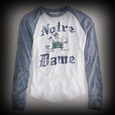 アメリカンイーグル メンズ Tシャツ American Eagle NOTRE DAME VINTAGE RAGLAN T Tシャツ-アバクロ 通販 ショップ-【I.T.SHOP】 #ITShop
