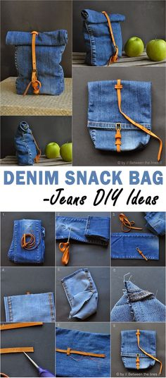 DIY Jeans Bucket Bag   Needables:   A Pair of Jeans  Thread to Match  Sewing Machine  Pins  Scissors  Measuring Tape/Ruler  Grommets  Chal...