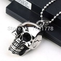 Free shipping large skull black drop of oil titanium steel pendants necklace jewelry