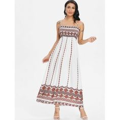 cbc0ff7ca19b Tribal Printed Smocked Boho Slip Dress - MILK WHITE L Bohemian Dresses  Short, Short Dresses
