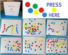 Press Here Book Dot Collages Things to Share and Remember Preschool Colors, Teaching Colors, Preschool Literacy, Kindergarten Art, Literacy Activities, Preschool Activities, Album Jeunesse, Library Lessons, Library Ideas