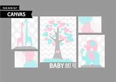 Pink and Pale Aqua Baby Girl Nursery canvas art by babyartprints