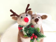 Christmas wedding cake topper Christmas Rudolph wedding