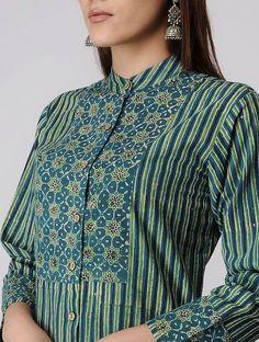 Green-Blue Ajrakh-printed Cotton Kurta Printed Kurti Designs, Simple Kurti Designs, Kurta Designs Women, Salwar Designs, Kurti Designs Party Wear, Neck Designs For Suits, Neckline Designs, Dress Neck Designs, Blouse Designs
