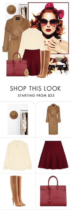 """Red + Beige"" by cherieaustin ❤ liked on Polyvore featuring Akira, Garance Doré, Jaeger, STELLA McCARTNEY, Ralph Lauren Collection, Yves Saint Laurent and Nixon"