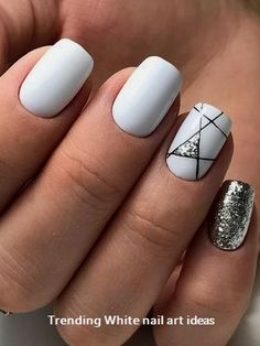 Nails beautiful nail design glitter winter nails white nails Wedding Cake Toppers: Important Things White Nail Designs, Short Nail Designs, Beautiful Nail Designs, Cool Nail Designs, Acrylic Nail Designs, Acrylic Art, Stripe Nail Designs, Nail Designs For Summer, Latest Nail Designs