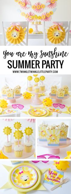 You are my Sunshine' Party – Summer Party Idea - 11 Cheap DIY Party Ideas an., You are my Sunshine' Party – Summer Party Idea - 11 Cheap DIY Party Ideas and Decorations to Bring a Little Extra Joy into the World Sunshine Birthday Parties, Summer Birthday, First Birthday Parties, Party Summer, Summer Diy, Party Party, Shower Party, Summer Girls, Summer Party Themes