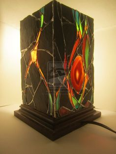 Stained glass slate stone and geode lantern 1 by JButlerDesign