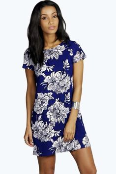 Yasmin Floral Printed Shift Dress at boohoo.com -- comes in yellow & blue, same pattern