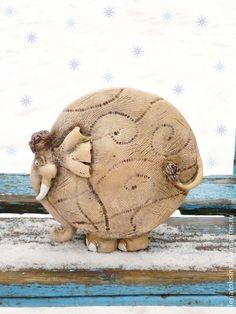 Слон Семен).Керамический сувенир. - бежевый,слон,слоник,слоники,авторская керамика
