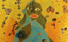 Detail from Chris Ofili's The Holy Virgin Mary 1996, Courtesy Victoria Miro Gallery, London
