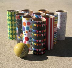 DIY Recycled TP Rolls Bowling Game RHS