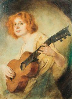 Hans Hassenteufel (German, 1887-1943) A Pretty Musician. Tadeusz Styka (Polish,1889-1954) Dziewczyna z gitarą. 1920