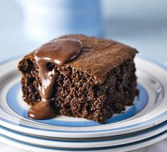 This rich, sticky chocolate cake is given a low-fat 'bakeover', then served with chocolate custard for a perfect retro, weekend pud. Chocolate Sponge Cake, Chocolate Icing, Chocolate Muffins, Chocolate Recipes, Hot Chocolate, Chocolate Custard Recipe, Chocolate Sponge Pudding, Chocolate Deserts, Custard Sauce