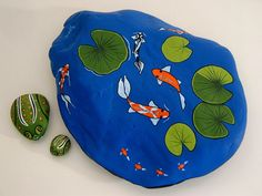 Ready to ship! Large cobalt blue Koi pond painted on a smooth stepping stone rock that has 2 little leopard frogs resting on lily pads. Pond Painting, Garden Stones, Garden Gifts, Pebble Art, Rock Art, Garden Art, Koi, Painted Rocks, Holiday Crafts