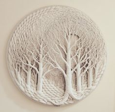 #1745 - SNOW WHITE Macrame Wall Hanging Diy, Macrame Art, Macrame Projects, Macrame Knots, Weaving Art, Tapestry Weaving, Loom Weaving, Circular Weaving, Macrame Design