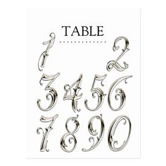 Any Color Table Numbers Fancy Silver Postcard Numbers Tattoo, Number Tattoo Fonts, Tattoo Fonts Alphabet, Tattoo Lettering Styles, Tattoo Design Drawings, Lettering Design, Fancy Letters, Letters And Numbers, Table Numbers