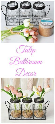 DIY Tulip Bathroom Jar Decor. Turn those mason jars into little flower pots with this new spring DIY. AD #DiscoverDoveFoam