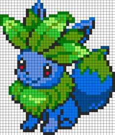Eevee And Oddish Fusion Perler Bead Pattern | Bead Sprites | Characters Fuse Bead Patterns