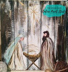 Christmas DIY Outdoor Decor Ideas that Will Wow Your Neighbors this Year - The Trending House Diy Christmas Garland, Pallet Christmas, Christmas Art, Christmas Decorations, Christmas Nativity Scene, Painted Windows For Christmas, Christmas Manger, Christmas Canvas, Nativity Painting