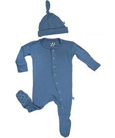 KicKee Pants BabyBoys Footie  Hat Pajama Gift Set Twilight Blue 03 Months >>> Details can be found by clicking on the image. (This is an affiliate link) #BabyBoyFootiesandRompers