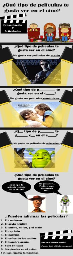 Spanish film and movie interactive presentation with student activities. ✿ Spanish Learning/ Teaching Spanish / Spanish Language / Spanish vocabulary / Spoken Spanish ✿ Share it with people who are serious about learning Spanish! High School Spanish, Spanish 1, Spanish Teacher, How To Speak Spanish, Learn Spanish, Spanish Classroom Activities, Spanish Teaching Resources, Spanish Language Learning, Spanish Lesson Plans