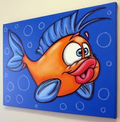 BoY FiSH 18x24 original painting on canvas for by art4barewalls