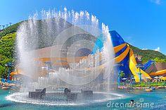 eye catching fountain display at the spectacular grand aquarium at aqua city of ocean park hong kong