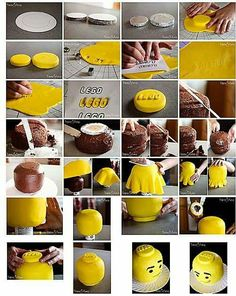 Lego Head cake how to.: Lego Head cake how to. Lego Head Cake, Lego Cake Pops, Lego Torte, Bolo Lego, Cupcakes Decorados, Lego Birthday Party, 5th Birthday, Birthday Ideas, Birthday Cake