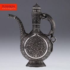 ANTIQUE 20thC INDIAN CUTCH SOLID SILVER STUNNING REPOUSSE EWER c.1900