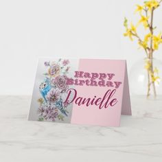 Blue Budgie & Rose Flower Happy Birthday Name Card Blue Budgie, Happy Birthday Name, Photo Thank You Cards, Christmas Cards, Vector Christmas, Budgies, Romantic Gifts, Name Cards, Custom Greeting Cards