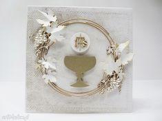 Gallery of handicrafts: Zaproszenie na komunię 3 First Communion Cards, Handicraft, Scrapbooking, Confirmation, Card Ideas, Gallery, Sachets, First Holy Communion, Craft