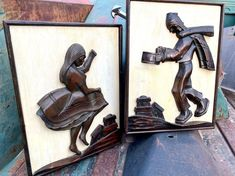 Vintage Bolivian Carved Wood Wall Plaques by Aymara Indians, Bas Relief Sculptural Style
