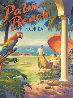 Stretched Canvas Palm Beach, Florida Travel Poster