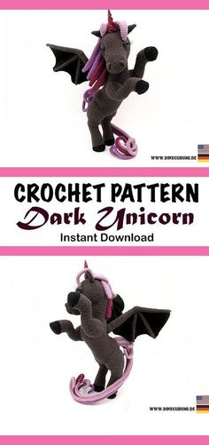 Crochet pattern for a sophisticated and cute dragon. Crochet Quilt, Crochet Cross, Crochet Yarn, Crochet Teddy, Cute Crochet, Crochet For Kids, Crochet Dragon, Crochet Unicorn, Crochet Patterns Amigurumi