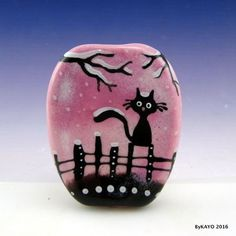"""JUST CHILLIN' OUT"" byKAYO a Handmade WINTER CAT Lampwork Glass Focal Bead SRA #Lampwork"