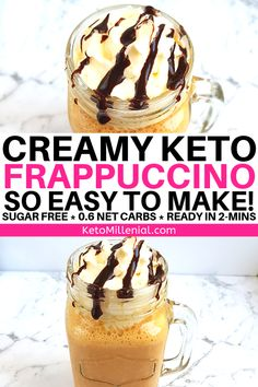 keto coffee Easy low carb frappuccino recipe thats easy to make at home and can be customised to make a mocha, caramel or vanilla frappe. This keto coffee frappuccino is so addicting and only contains grams of net carbs! Keto Desserts, Keto Friendly Desserts, Holiday Desserts, Dessert Recipes, Keto Snacks, Snack Recipes, Dinner Recipes, Keto Frappuccino Recipe, Low Carb Starbucks