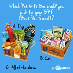 Pet Gift Box, 50% off your first purchase.   Pet Gift Box is the purrfect gift for all of your furry friends! Click now to get or give the best Pet Gift's around!