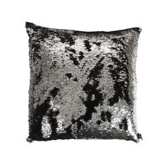 Aviva Stanoff - Two Tone Mermaid Sequin Cushion - Black/Silver - 50x50cm