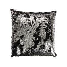 Aviva Stanoff - Two Tone Mermaid Sequin Cushion - Black/Silver - 50x50cm