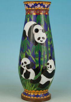 Chinese Old Cloisonne Handmade Painting Collection Mascot Panda Vase Decoration Big Panda, Panda Bear, Japanese Vase, Enamel, Antiques, Decoration, Painting, Ebay, Collection