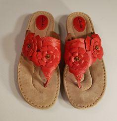0d4207996d49d Clarks Artisan Red Flower Sandals Wedge Flip Flops size 10M · Wedge Flip  FlopsJeweled SandalsLeather ...