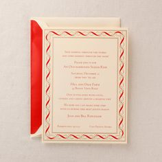 Hand Engraved Classic Ornamental Frame Holiday Party Invitation: Understatedly elegant, gold and red ribbons entwine for the perfect holiday invitation border. Perfect for the coziest of fetes filled with family, friends and the tastiest of confections.