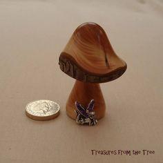 FAIRY DREAMS MUSHROOM Yew wood Tibetan Silver Fairy Purple Glitter Wings