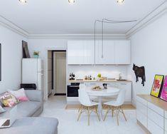 offene-kueche-wohnzimmer-modern-weiss-ecksofa-grau-kuh-tafel-kreide-modern