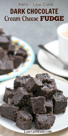 Dark chocolate Fudge: Made from a combination of cream cheese and dark chocolate, among other ingredients! Satisfy your sweet tooth with this heavenly cream cheese dark chocolate keto fudge. It's a delicious low carb treat with only 1 gram net carb per square.   via @Low Carb YumGluten Free & Low Carb Recipes
