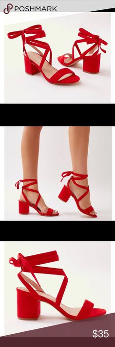 bfe960b66950 Bailey Lace Up Block Heels in Red Faux Suede Red heels. Only worn once Shoes