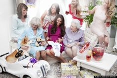 """Behold this faux royal baby shower, complete with a Duchess of Cambridge look-alike, a """"Born To Rule"""" onesie, and a corgi driving a toy car. Kate Middleton, Kate Und William, Prince William, Prince Philip, Baby Shower Pictures, Shower Pics, Kate Baby, Second Wedding Anniversary, Princesa Kate"""