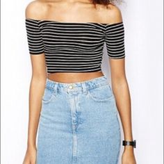 Cute Babydoll Striped Crop Top So cute, goes off the shoulder and goes with so much. Full Tilt Tops Crop Tops